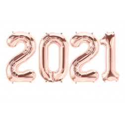 Folienballons Zahlen 2021 Rosegold 86cm