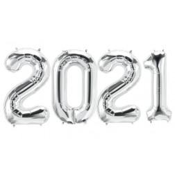 Folienballons Zahlen 2021 silber 86cm