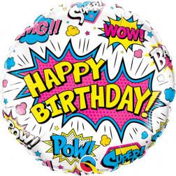 Folienballon Happy Birthday Super Hero 45cm