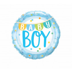 Folienballon Baby Boy Banner 46cm