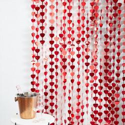 Backdrop Lametta Herz Rot 1 x 2,5m