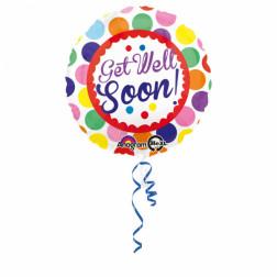 Folienballon Get well soon Dots 43cm