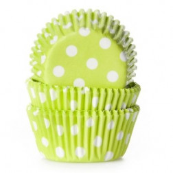 Mini Baking cups Polkadot Lime Green 60 Stück