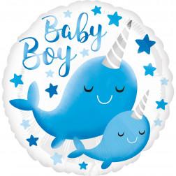 Folienballon Narwhal Baby Boy 43cm