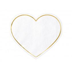 Servietten Herz weiß gold 20 Stück