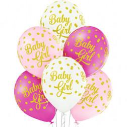 Luftballons Baby Girl Dots 6 Stück
