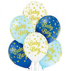 Luftballons Baby Boy Dots 6 Stück