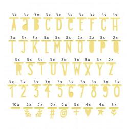 Buchstaben Zahlen Symbole Banner Gold 147 Stück