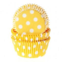 Cupcake Backförmchen Gelb Polka Dots 50 Stück