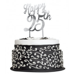 Cake Topper 25th silber