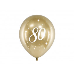 Luftballons 80 Glossy gold 6 Stück