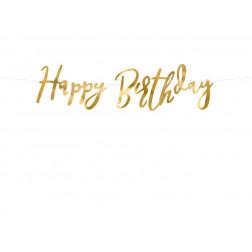 Banner Happy Birthday gold 16 x 62cm
