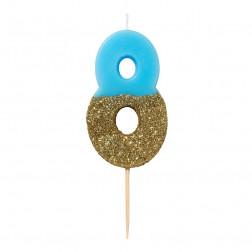 Kerze We Heart Bday Gold Blau 8