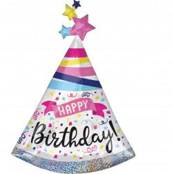 Folienballon Birthday Sparkle Hat 91cm