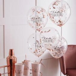 Luftballons Confetti Team Bride Hen Party 5 Stück