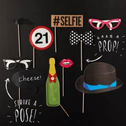 Photo Booth Set 21. Geburtstag Party 10 Props
