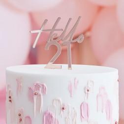 Cake Topper Hello 21 Roségold