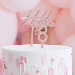 Cake Topper Hello 18 Rosegold