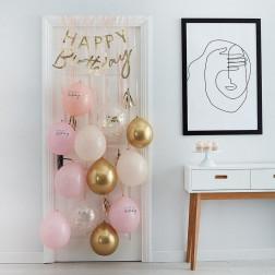 Happy Birthday Ballons Set Pink Gold