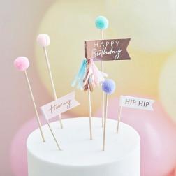 Cake Toppers Pom Pom Happy Birthday