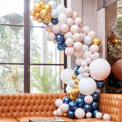 Luxe Marble Navy & Gold Chrome Balloon Arch Kit