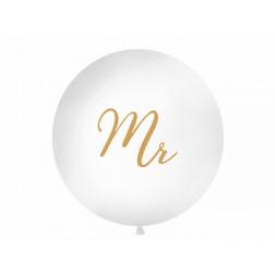 Riesenballon MR weiß gold 1m