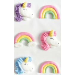 Zuckerdekor Unicorn Rainbow 6 Stück