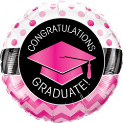 Folienballon Graduate Pink Chevron Dots 45cm