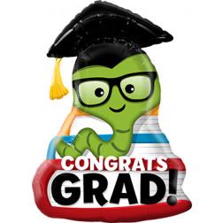 Folienballon Congrats Grad Bookworm 94cm