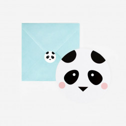 Einladungskarten mini Panda 8 Stück