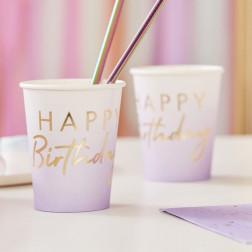 Pappbecher Happy Birthday lila gold 8 Stück