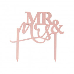 Mr And Mrs Rose Gold Acrylic Wedding Cake Topper