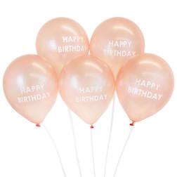 Rose Gold Happy Birthday Balloons 5 Stück