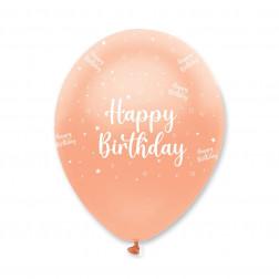 Luftballons Happy Birthday rosegold 6 Stück