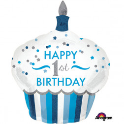 Folienballon 1st Birthday Cupcake Boy 91cm