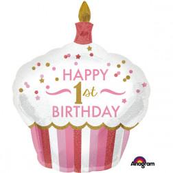 Folienballon 1st Birthday Cupcake rosa 91cm