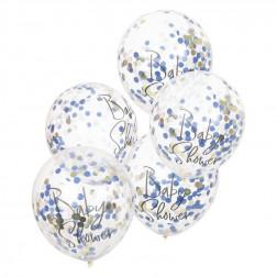 Luftballons Navy Pink & Gold Confetti Baby Shower 5 Stück