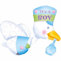 Folienballon Storch it s a Boy 81cm