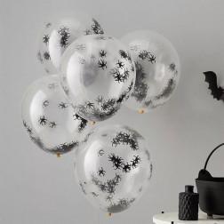 Luftballons mit Spinnen Konfetti 5 Stk