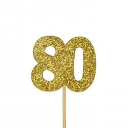 Cupcake Topper 80 Glitter gold 12 Stück