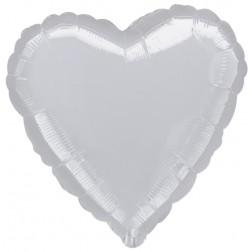 Herz Folienballon Silber 45cm