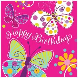 Servietten Schmetterling Happy Birthday 16 Stück