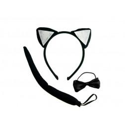 Katze Set mit Haarreife, Fliege und Schwanz
