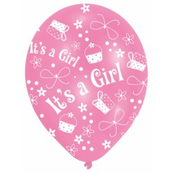 Luftballons It's a Girl Babyshower 6 Stück