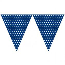 Flaggen Banner Polka Dots royalblau, weiß 2,74m