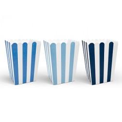 Popcorn Boxen mit Streifen Blau 6 Stück