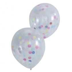 Luftballons durchsichtig mit Konfetti 5 Stück