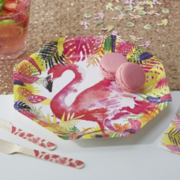 Pappteller Flamingo rosa 8 Stück