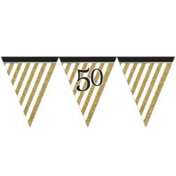 Flaggen Banner 50. Geburtstag Black Gold 3,7m