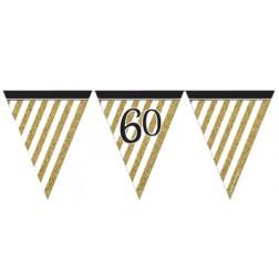 Flaggen Banner 60. Geburtstag Black Gold 3,7m